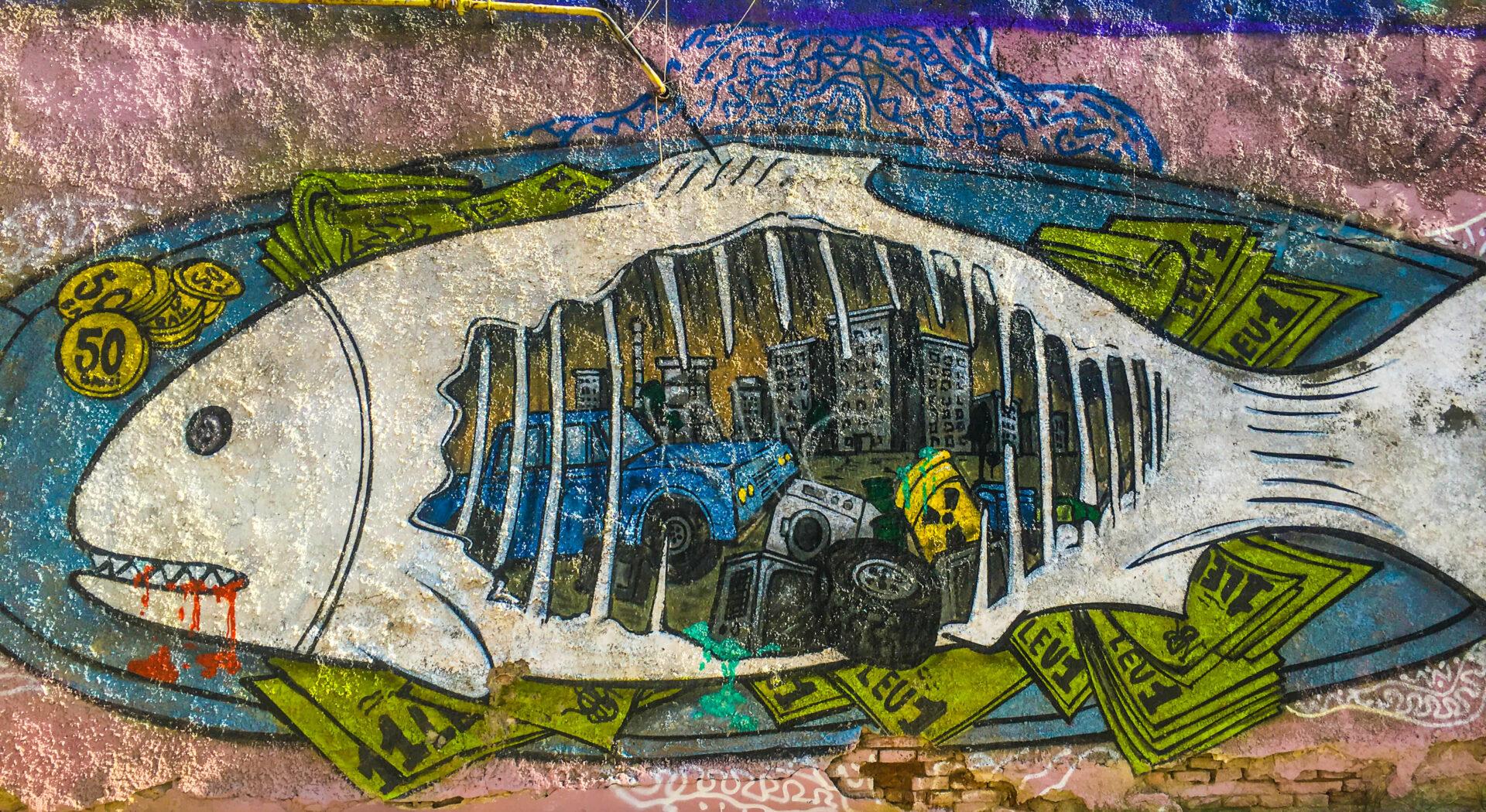 Gatekunst som viser søppel i Donau_red