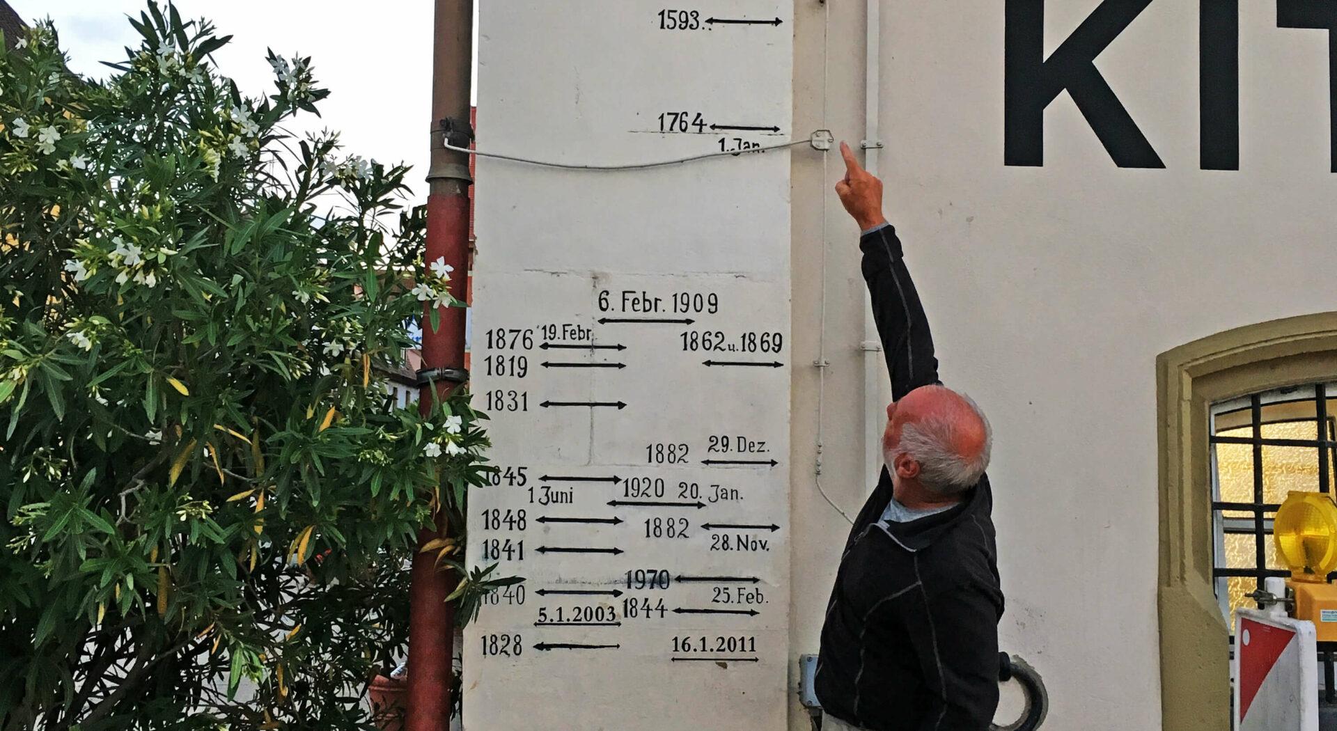 Kitzingen. Sten viser vannstandmåling