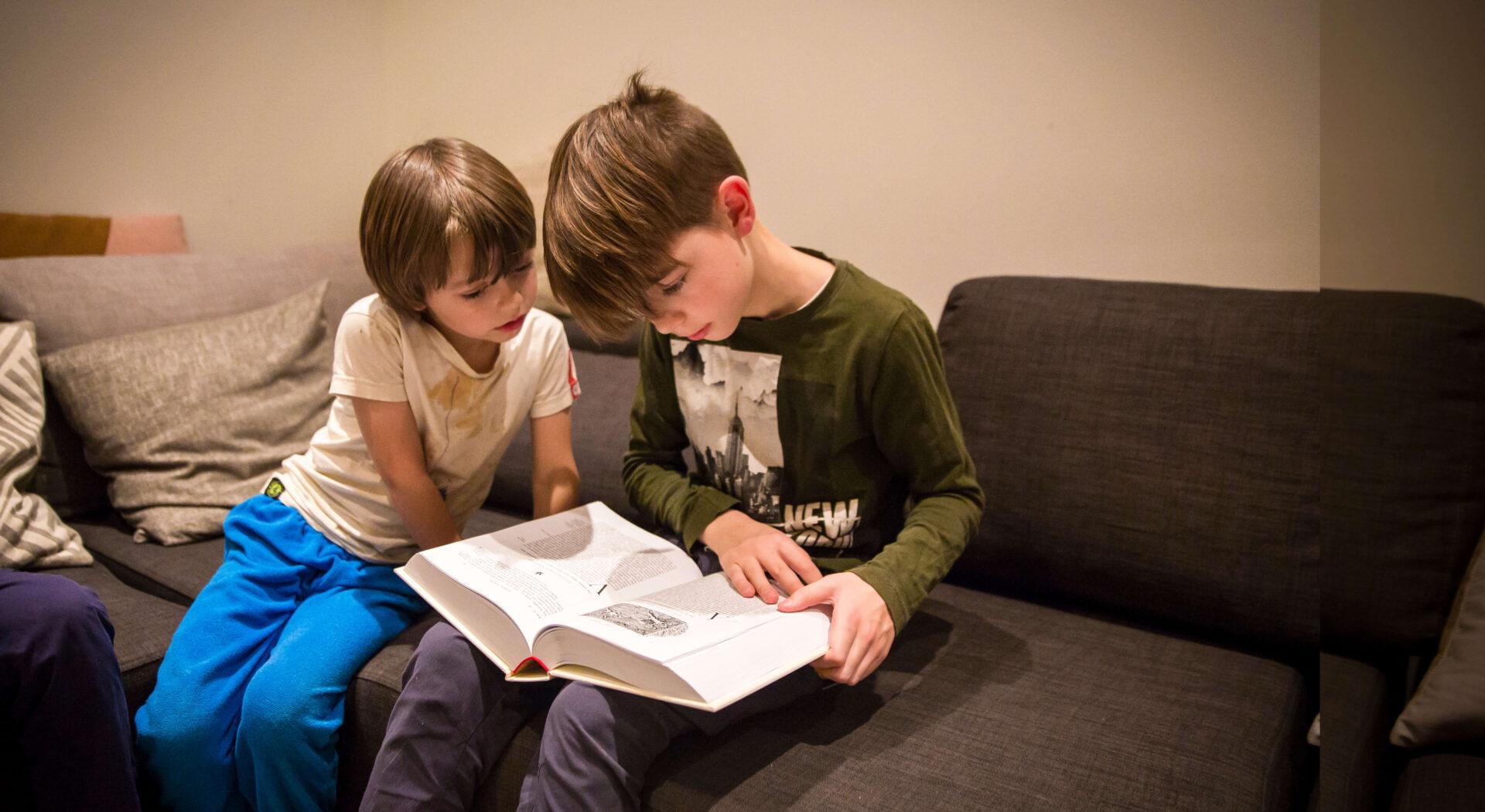 Willem og Lyder leser i boken